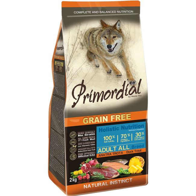 Корм Primordial для собак, беззерновой, форель/утка 2кг