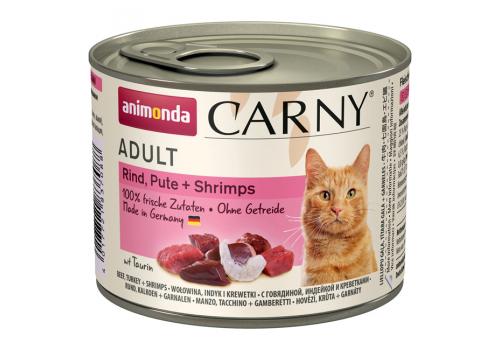 Консервы Animonda Carny Adult для взрослых кошек, с говядиной, индейкой и креветками 200г