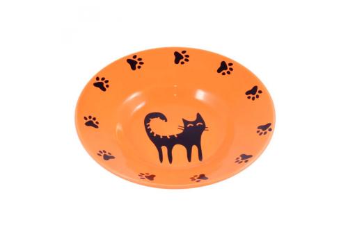 Миска керамическая КерамикАрт Блюдце для кошек, оранжевая, 140мл