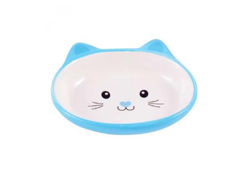 Миска керамическая для кошек Мордочка кошки 160мл голубая