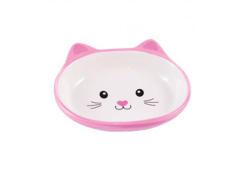 """Миска керамическая для кошек КерамикАрт """"Мордочка кошки"""", розовая, 160мл"""