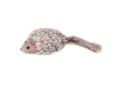 Игрушка для кошек Triol Мышь, серая, натуральный мех, 7см