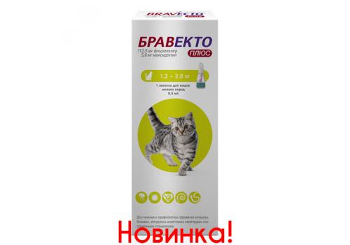 Бравекто Плюс для кошек мелких пород (от 1,2 до 2,8 кг), 112,5 мг