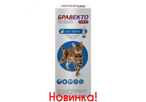 Бравекто Плюс для кошек средних пород (от 2,8 до 6,25 кг), 250 мг