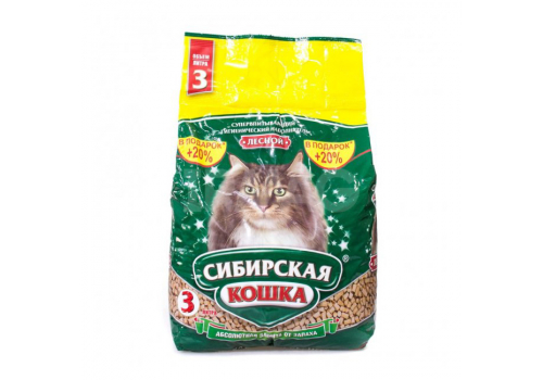 Наполнитель Сибирская кошка Лесной, древесный 3л