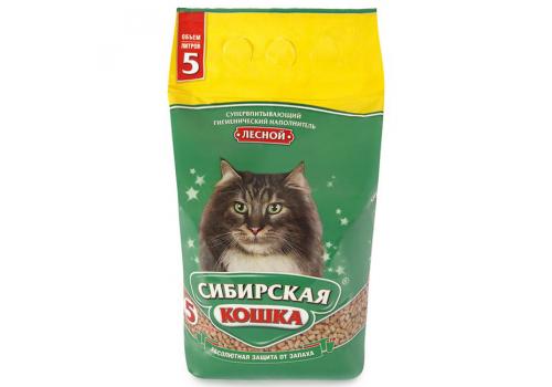 Наполнитель Сибирская кошка Лесной, древесный 5л