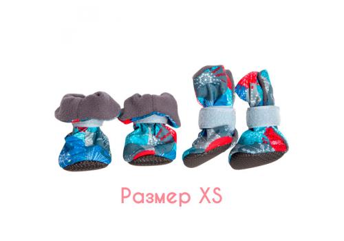 Ботиночки на флисе для собак OSSO Fashion, подошва ЭВА, размер XS
