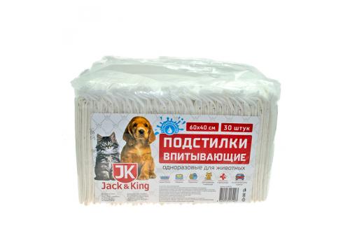 Подстилка впитывающая Jack&King с суперабсорбентом, 40х60см, 1шт