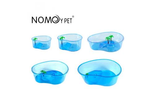 Nomoy Pet Черепашник открытый из жесткого пластика с островком, 25х15х10см