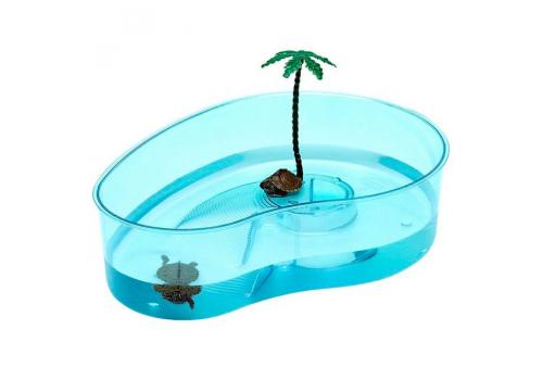 Nomoy Pet Черепашник открытый из жесткого пластика с островком, 32х23х9см