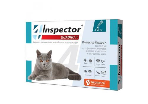Inspector Капли от внешних и внутренних паразитов Quadro для кошек 4-8кг, 1 пипетка