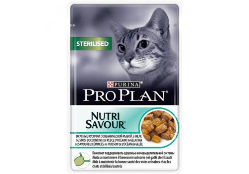 Корм влажный Pro Plan Sterilised для стерилизованных кошек, океаническая рыба в желе 85г