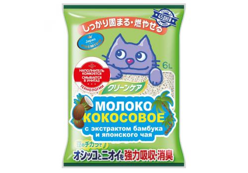 Наполнитель растительный Japan Premium Pet Молоко кокосовое с экстрактом бамбука и японского чая, 6л