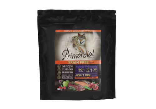 Корм Primordial для собак, беззерновой, форель/утка 400г