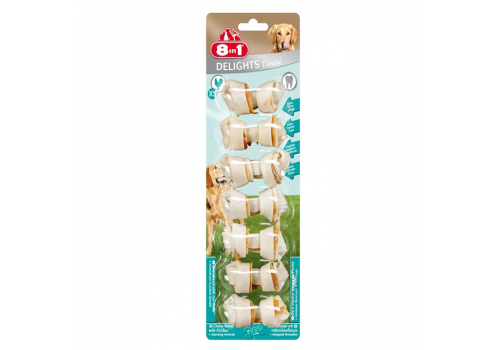 Лакомство 8in1 Delights Dental XS косточки с куриным мясом для мелких собак  7.5см 7шт.