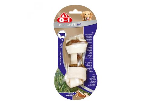 Лакомство 8in1 Delights Beef S косточка с говядиной для мелких собак 11см