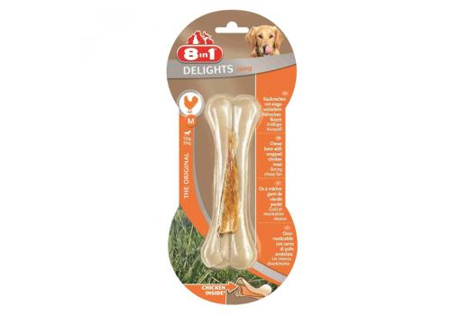 Лакомство 8in1 Delights Strong М косточка сверхпрочная с куриным мясом для средних собак 14.5см