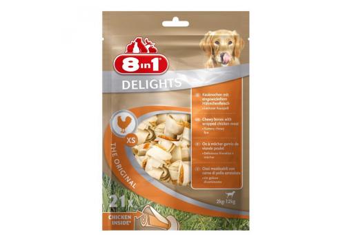 Лакомство 8in1 Delights Dental XS косточки с куриным мясом для мелких собак 7.5см 21шт. (пакет)
