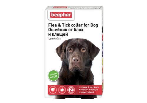 Ошейник Beaphar Flea & Tick collar от блох и клещей для собак, зеленый, 65см