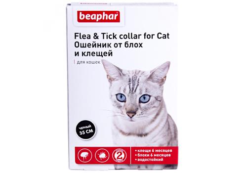 Ошейник Beaphar Flea & Tick collar от блох и клещей для кошек, черный, 35см