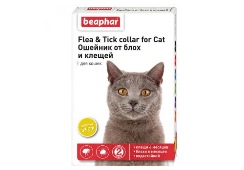 Ошейник Beaphar Flea & Tick collar от блох и клещей для кошек, желтый, 35см