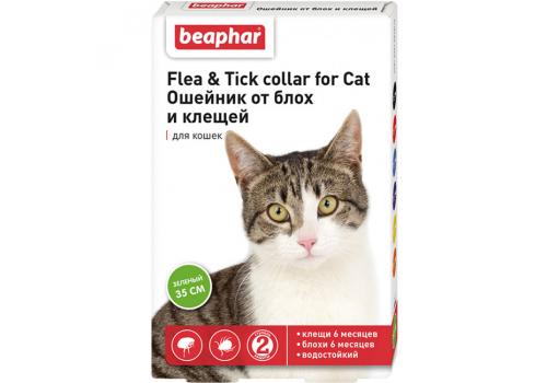 Ошейник Beaphar Flea & Tick collar от блох и клещей для кошек, зеленый, 35см