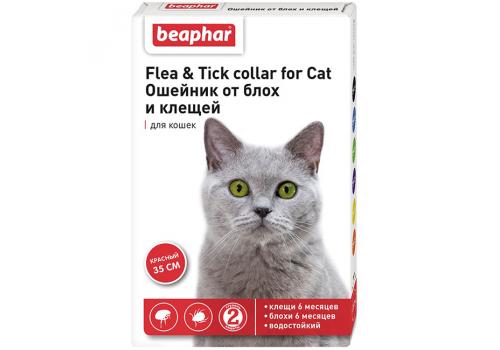 Ошейник Beaphar Flea & Tick collar от блох и клещей для кошек, красный, 35см