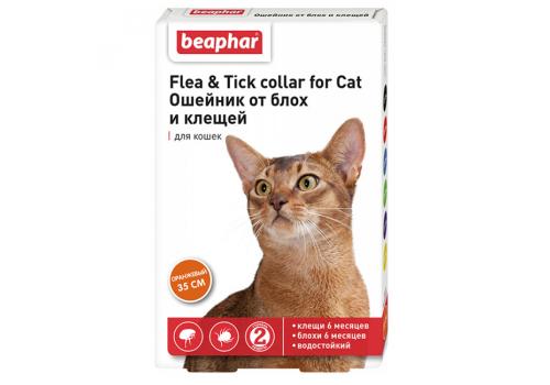 Ошейник Beaphar Flea & Tick collar от блох и клещей для кошек, оранжевый, 35см