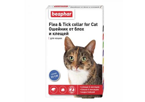 Ошейник Beaphar Flea & Tick collar от блох и клещей для кошек, синий, 35см