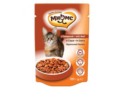 Паучи Мнямс Идеальный баланс для кошек с говядиной в соусе 100г