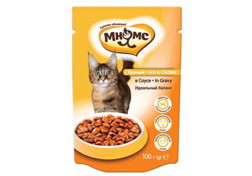 Паучи Мнямс Идеальный баланс для кошек с курицей в соусе 100г