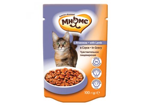 Паучи Мнямс Чувствтительное пищеварение для кошек с ягненком в соусе 100г