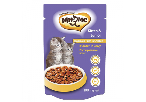 Паучи Мнямс Рост и развитие для котят с курицей в соусе 100г