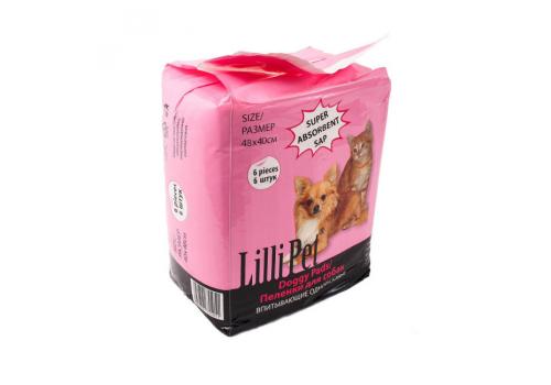 Пеленки впитывающие Lilli Pet DOGGY PADS для собак, 48Х40см, 6шт