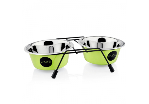 Набор Lilli Pet Double Dinner миски с подставкой, зеленые, 2х250мл