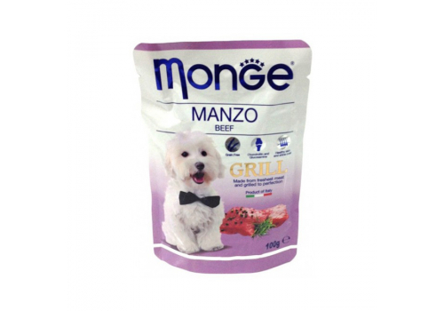 Консервы Monge Grill Pouch для собак, говядина 100г