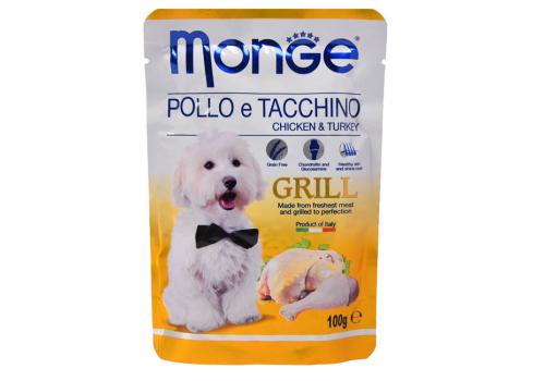 Консервы Monge Grill Pouch для собак, курица с индейкой 100г