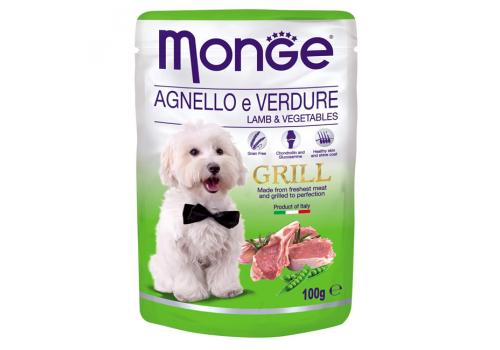 Консервы Monge Grill Pouch для собак, ягненок с овощами 100г