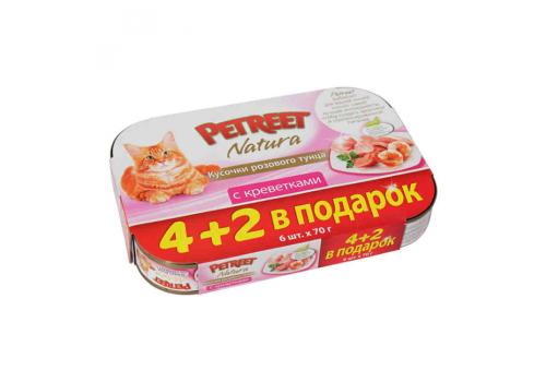 Акция 4+2 Multipack Консервы Petreet для кошек, розовый тунец с креветками 6х70г