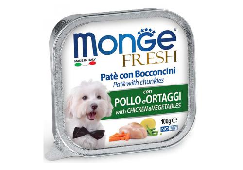 Консервы Monge Fresh для собак, курица с овощами, 100г