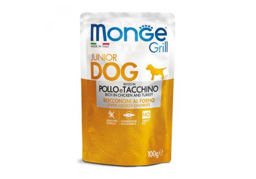 Корм влажный Monge Grill Puppy Pouch для щенков, курица и индейка, 100г