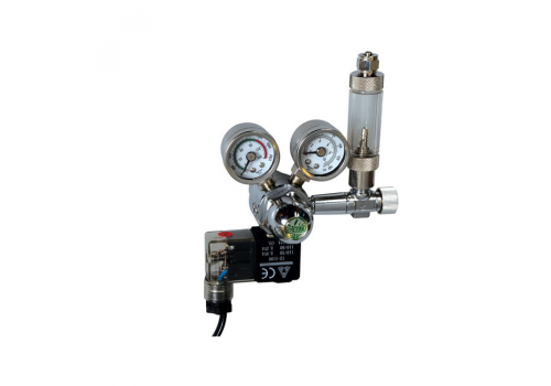 Редуктор ISTA l-641 CO2 Twin-gauge с электромагнитным клапаном, счетчиком пузырьков