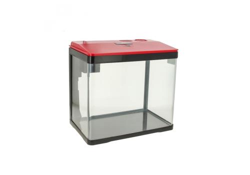 Аквариум Prime LED c фильтром и кормушкой, 15л, красно-черный