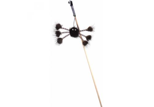 Дразнилка GoSi Махалка Норковый паук, на веревке, черный 5х70см