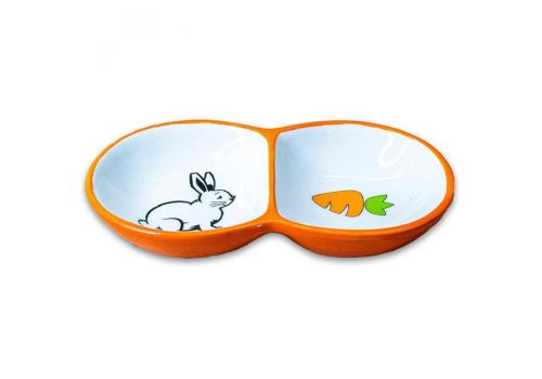 Миска для грызунов КерамикАрт двойная, оранжевая, 2х50мл
