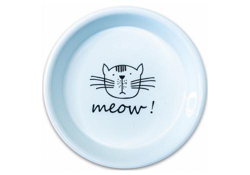 Миска керамическая КерамикАрт MEOW!, для кошек, белая, 200 мл