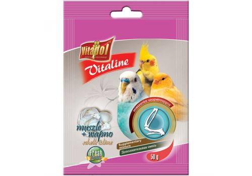 Подкормка для птиц Vitapol Vitaline ракушки + кальций, 50г