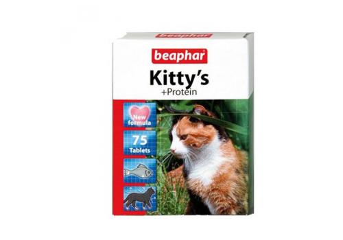 Beaphar Kitty's Protein витамины с протеином и вкусом рыбы для кошек 75таб.