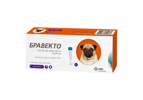 Бравекто Спот Он для собак мелких пород (>4,5 – 10кг) 250мг