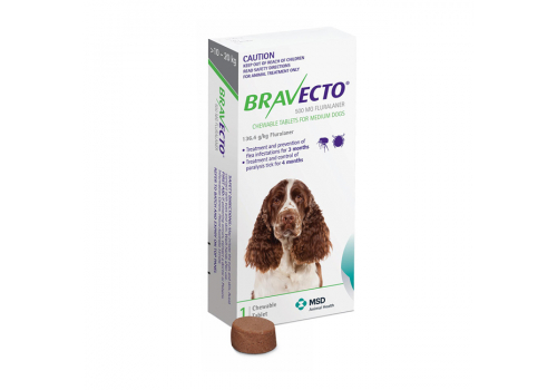 Бравекто жевательная таблетка для собак массой >10 — 20кг 500мг